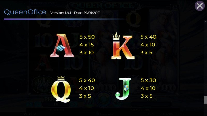 Queen of Ice :: Paytable - Low Value Symbols