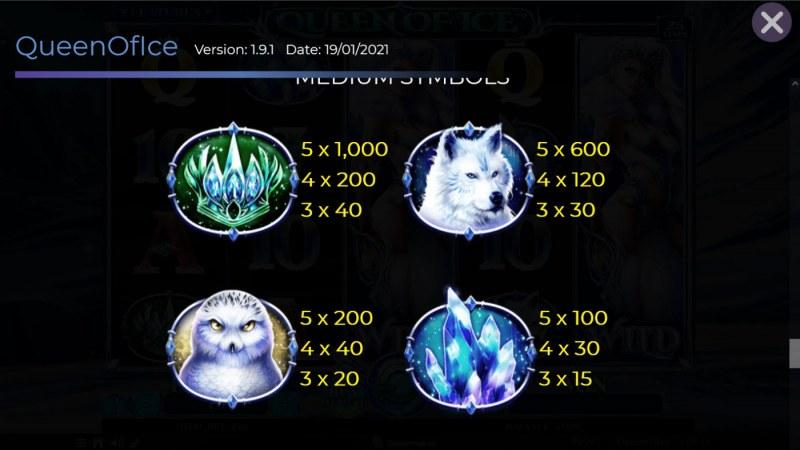 Queen of Ice :: Paytable - Medium Value Symbols
