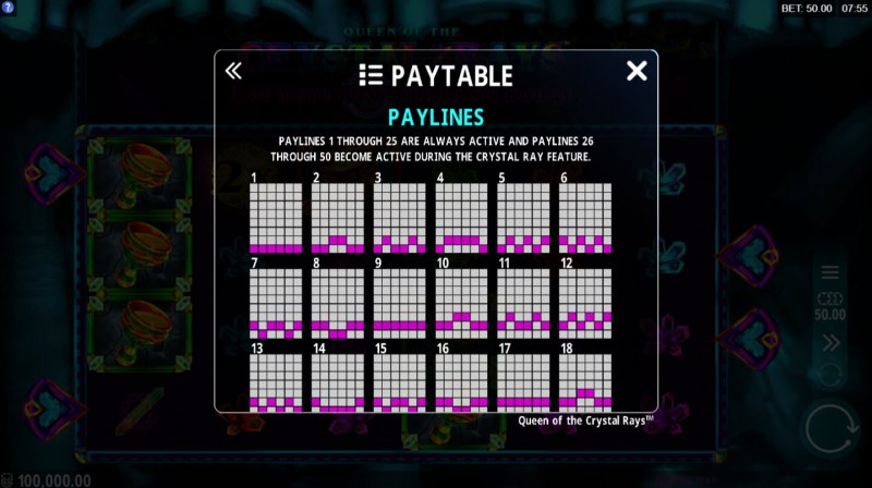 Queen of the Crystal Rays :: Paylines 1-18