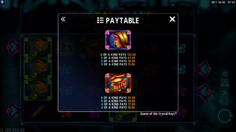 Queen of the Crystal Rays :: Paytable - High Value Symbols