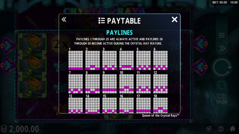 Play slots at Blackjack Ballroom: Blackjack Ballroom featuring the Video Slots Queen of the Crystal Rays with a maximum payout of $129,000