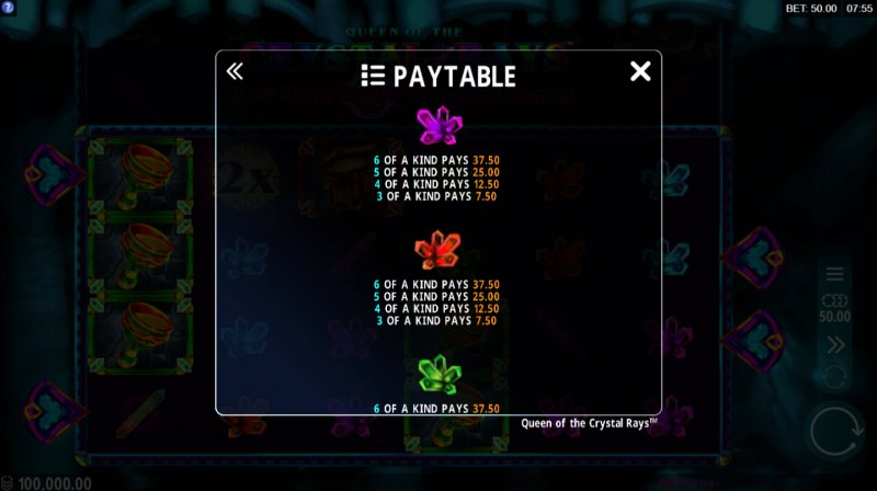 Queen of the Crystal Rays :: Paytable - Low Value Symbols
