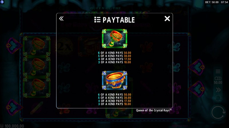 Queen of the Crystal Rays :: Paytable - Medium Value Symbols