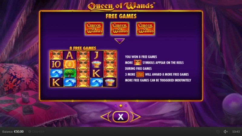 Queen of Wands :: Free Spins Rules