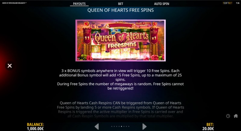 Queen of Wonderland Megaways :: Free Spin Feature Rules