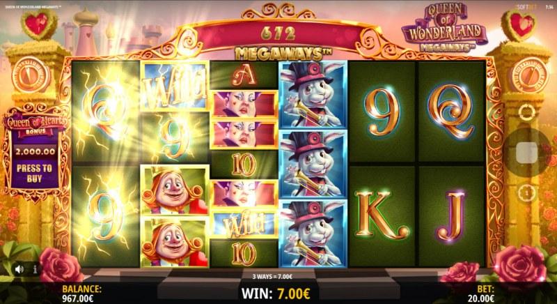Queen of Wonderland Megaways :: A three of a kind win