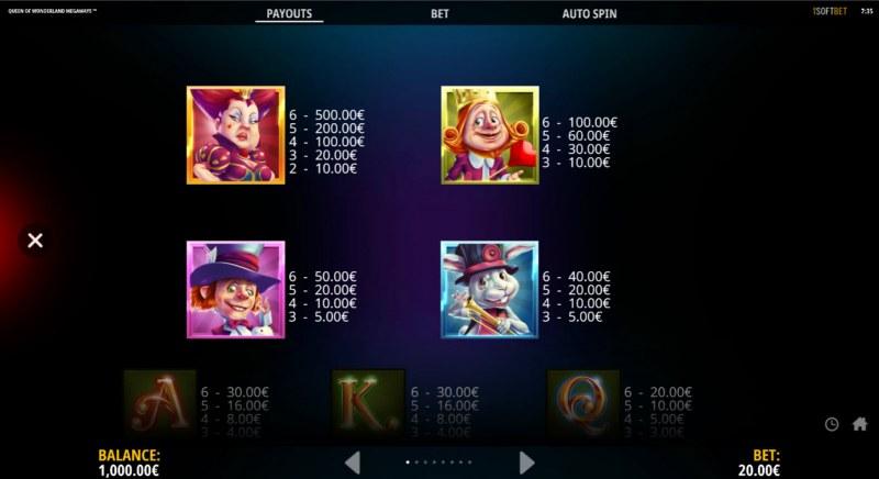 Queen of Wonderland Megaways :: Paytable - High Value Symbols