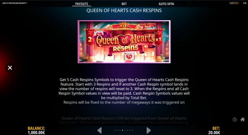 Queen of Wonderland Megaways :: Respin Feature