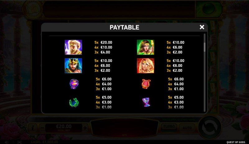 Quest of Gods :: Paytable - High Value Symbols