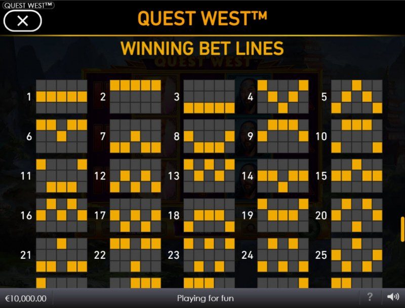 Quest West :: Paylines