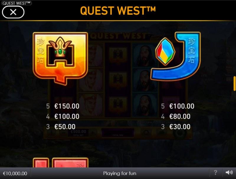 Quest West :: Paytable - Low Value Symbols