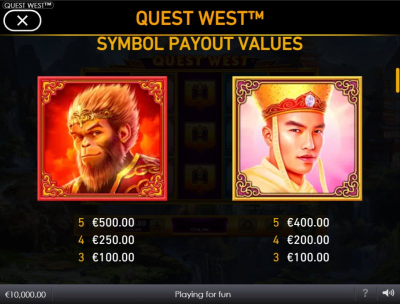 Quest West :: Paytable - High Value Symbols