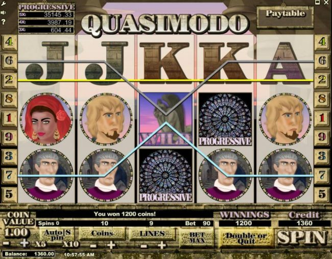 Viggoslots featuring the Video Slots Quasimodo with a maximum payout of $500,000