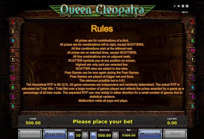 Money Storm featuring the Video Slots Queen Cleopatra with a maximum payout of $2,500,000