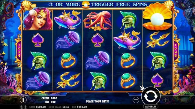 An ocean adventure themed main game board featuring five reels and 243 winning ways with a $10,000 max payout.