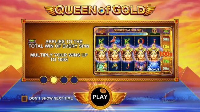 Play slots at Campeon: Campeon featuring the Video Slots Queen of Gold with a maximum payout of $10,000