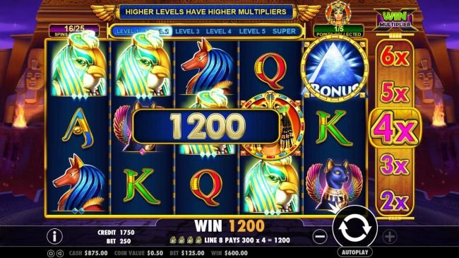 Spiral featuring the Video Slots Queen of Gold with a maximum payout of $10,000