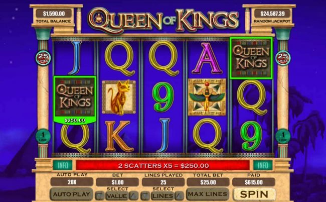 Red Dog featuring the Video Slots Queen of Kings with a maximum payout of $20,000