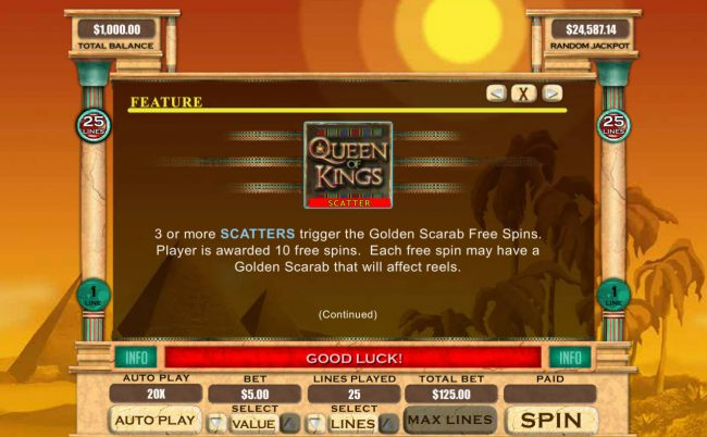 Play slots at La Riviera: La Riviera featuring the Video Slots Queen of Kings with a maximum payout of $20,000