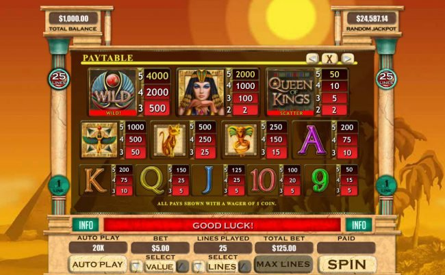 Plenty Jackpots featuring the Video Slots Queen of Kings with a maximum payout of $20,000