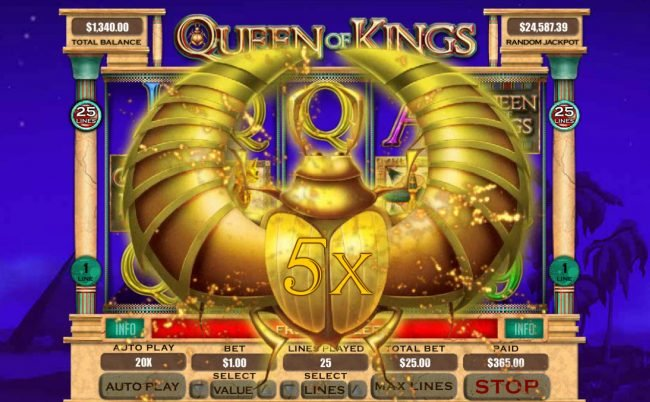 Cool Cat featuring the Video Slots Queen of Kings with a maximum payout of $20,000
