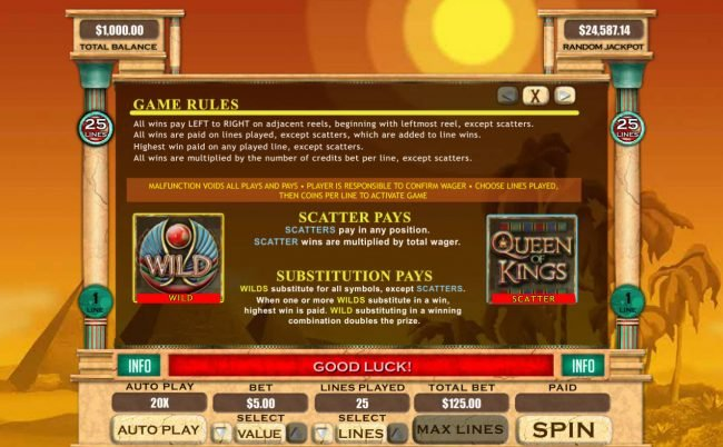 Planet7 Oz featuring the Video Slots Queen of Kings with a maximum payout of $20,000