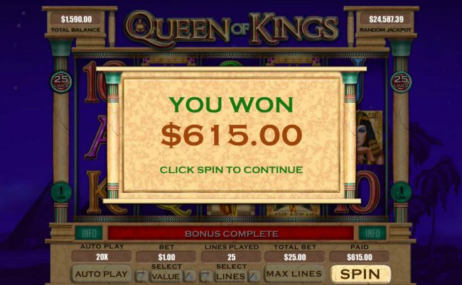 Diamond Reels featuring the Video Slots Queen of Kings with a maximum payout of $20,000