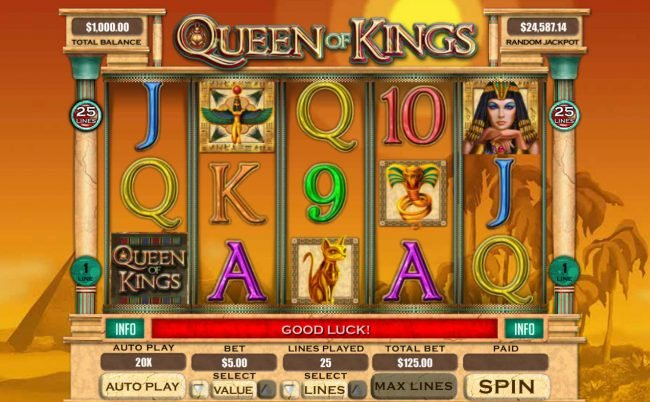 Play slots at Club UK: Club UK featuring the Video Slots Queen of Kings with a maximum payout of $20,000