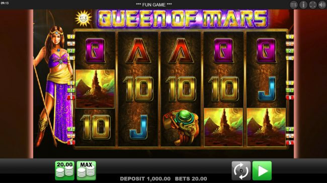 Play slots at Get Slots: Get Slots featuring the Video Slots Queen of Mars with a maximum payout of $10,000