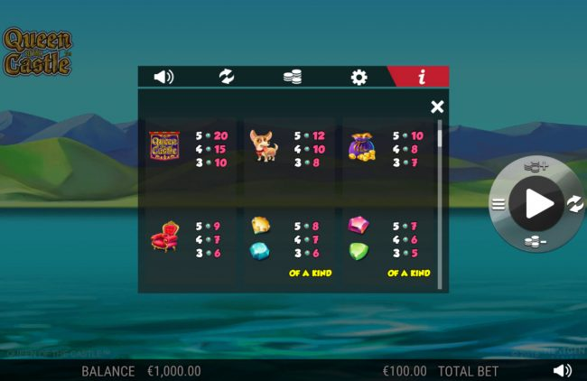Play slots at 6 Black: 6 Black featuring the Video Slots Queen of the Castle with a maximum payout of 0