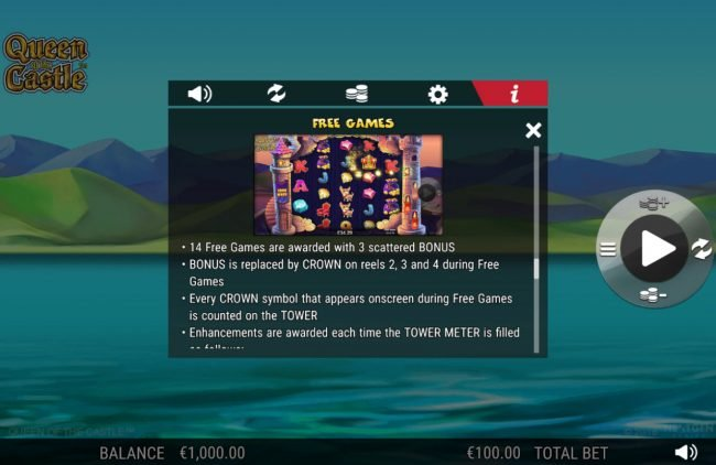 Playgrand featuring the Video Slots Queen of the Castle with a maximum payout of 0