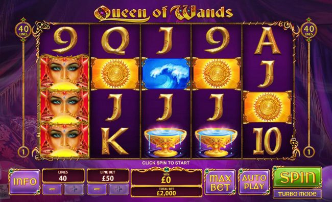 Giant Vegas featuring the Video Slots Queen of Wands with a maximum payout of $50,000