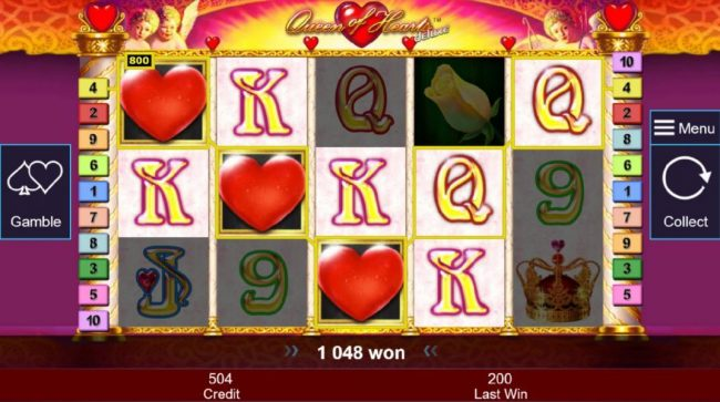 Three red heart wilds trigger multiple winning bet lines leading to a 1048 coin big win!