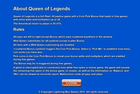Company featuring the Video Slots Queen of Legends with a maximum payout of $1,600,000