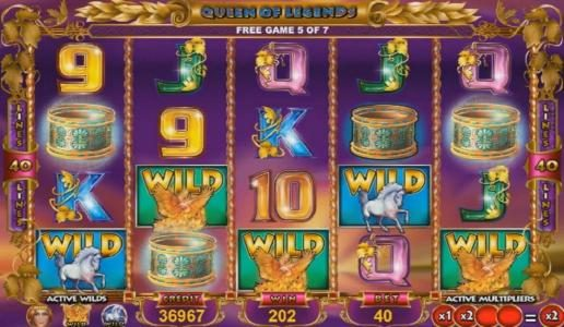 Spinrider featuring the Video Slots Queen of Legends with a maximum payout of $1,600,000
