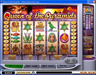 Circus Casino featuring the Video Slots Queen of Pyramids with a maximum payout of Jackpot