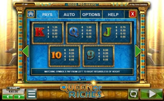 All British featuring the Video Slots Queen of Riches with a maximum payout of $1,200