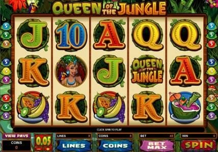Argo featuring the Video Slots Queen of the Jungle with a maximum payout of $30,000