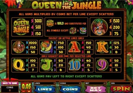 Golden Reef featuring the Video Slots Queen of the Jungle with a maximum payout of $30,000