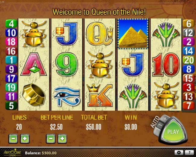 Play slots at Vegas Winner: Vegas Winner featuring the Video Slots Queen of the Nile with a maximum payout of $27,000