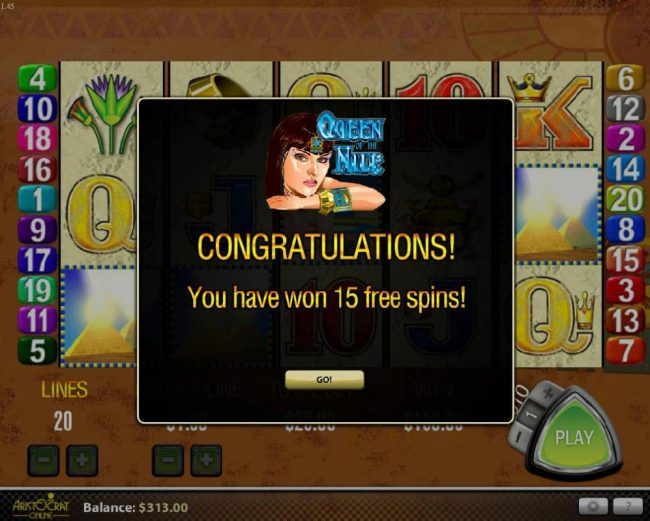 365 Bet Bit featuring the Video Slots Queen of the Nile with a maximum payout of $27,000
