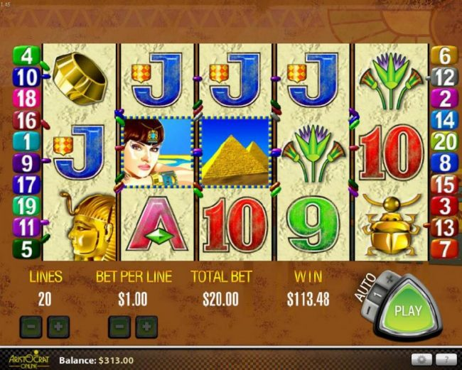 Winzino featuring the Video Slots Queen of the Nile with a maximum payout of $27,000