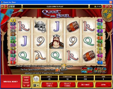 Play slots at Jonny Jackpot: Jonny Jackpot featuring the Video Slots Quest for Beer with a maximum payout of $28,800