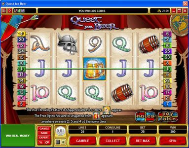 Lucky 247 featuring the Video Slots Quest for Beer with a maximum payout of $28,800