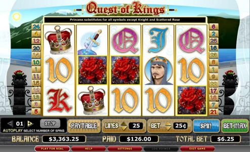 Vegas Winner featuring the video-Slots Quest of Kings with a maximum payout of 8,000x