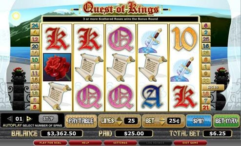 EU Casino featuring the video-Slots Quest of Kings with a maximum payout of 8,000x