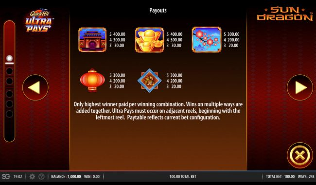 Zinger Spins featuring the Video Slots Quick Hit Ultra Pays Sun Dragon with a maximum payout of $250,000