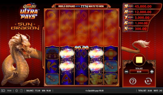 Norske Casino featuring the Video Slots Quick Hit Ultra Pays Sun Dragon with a maximum payout of $250,000