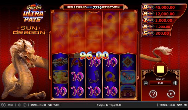 BGO Vegas featuring the Video Slots Quick Hit Ultra Pays Sun Dragon with a maximum payout of $250,000