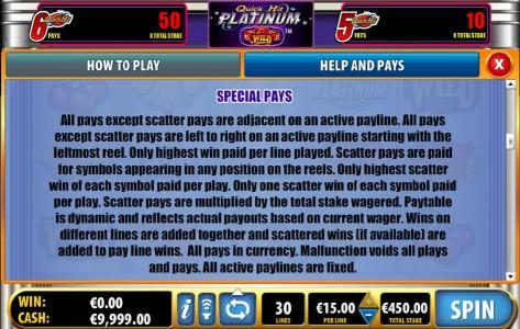 All Irish featuring the Video Slots Quick Hit Platinum with a maximum payout of $75,000